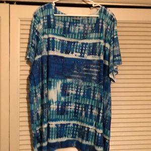 Turquoise and blues short sleeve shirt